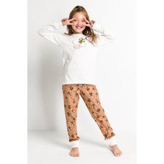 Pijama Infantil Acuo Longo Abelhas Feminino