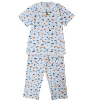 Pijama Infantil Babié Masculino Longo Helicóptero em Malha