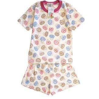 Pijama Infantil Babié Nuvem Manga Curta Feminino
