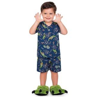 Pijama Infantil Bebê Dino Astronauta Fakini - AZUL - 1