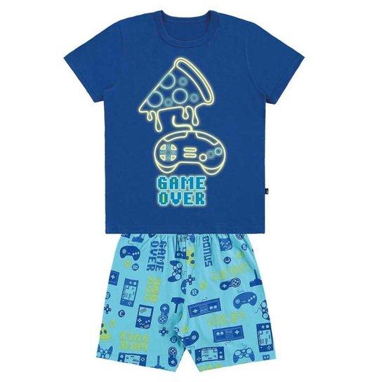 Pijama Infantil Camiseta Bermuda Meia Malha Brilha no Escuro - Azul