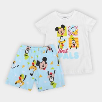 Pijama Infantil Curto Evanilda Disney Mickey Masculino