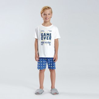 Pijama Infantil Curto Pulla Bulla Game Over Masculino