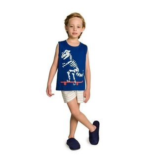 Pijama Infantil Dinossauro Skatista C Óculos Brilha N Escuro