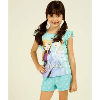 Pijama Infantil Estampa Frozen Disney Tam 2 A 10 - 10047825345