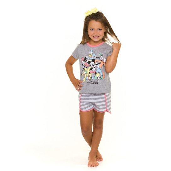 Pijama Infantil Evanilda Disney Mickey Friends Feminino - Mescla
