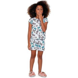Pijama Infantil Feminino Sereia Fakini - AZUL - 8