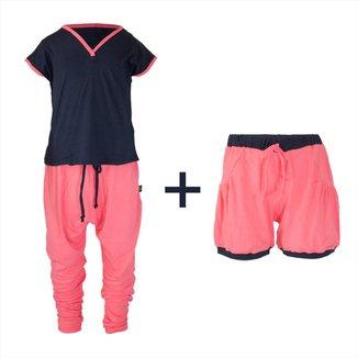 Pijama Infantil Gumii Trinne 3 peças Feminina