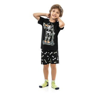 Pijama Infantil Kamylus Caveira Brilha no Escuro Masculino