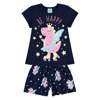 Pijama Infantil Kyly Be Happy Brilha no Escuro Feminino