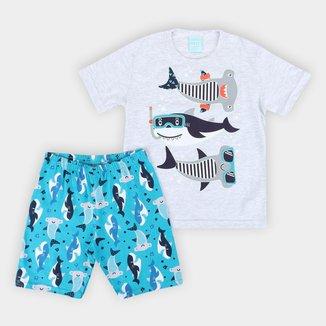 Pijama Infantil Kyly Curto Fundo do Mar Masculino