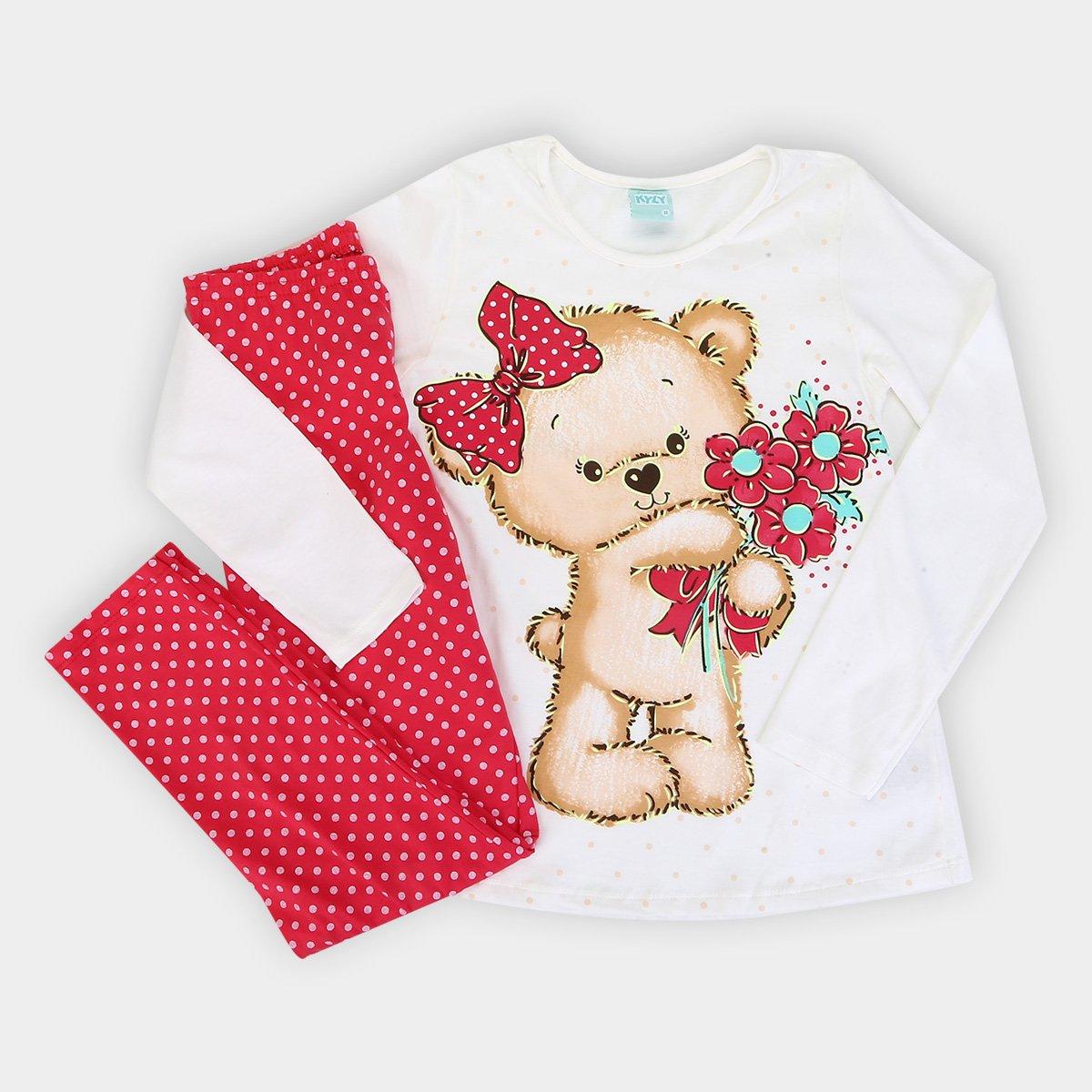 abdf1a45c Pijama Infantil Kyly Longo Meia Malha Urso Brilha no Escuro Feminino ...