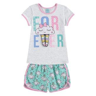 Pijama Infantil Kyly Nuvem Brilha no Escuro Feminino