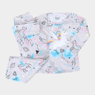 Pijama Infantil Longo Elian Unicórnio Brilha No Escuro Feminino