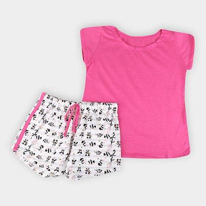 Pijama Infantil Lupo Panda C/ Short Doll Feminino