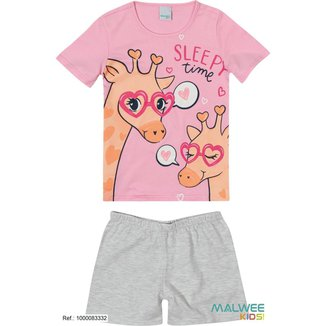 Pijama Infantil Malha Menina Calor Verão 10 A 16 Anos Malwee Brilha no escuro