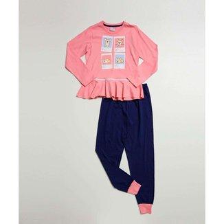Pijama Infantil Manga Longa Estampa Frontal Tam 4 A 10 - 10046243386