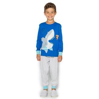 Pijama Infantil Masculino Yes Pizza Evanilda - AZUL - 4