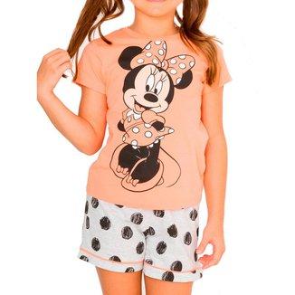Pijama Infantil Menina Curto Minnie Mouse 49.03.0033 Laranja