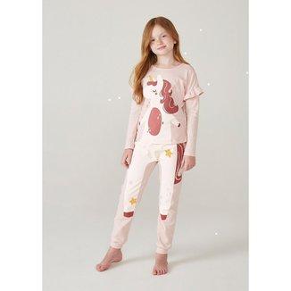 Pijama Infantil Menina Manga Longa Com Estampa Divertida - 565F1CEN4