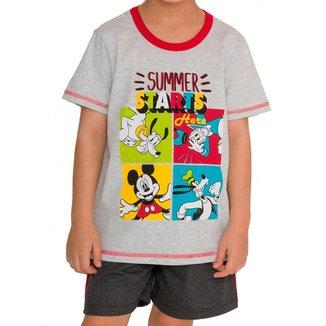 Pijama Infantil Menino Curto Mickey Mouse 52.03.0023 Cinza