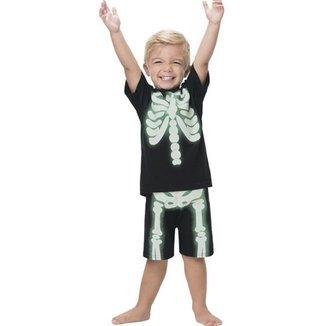 Pijama Infantil Menino, Manga Curta, Com Detalhe Que Brilha No Escuro, Esqueleto, 2  Peças - Kyly