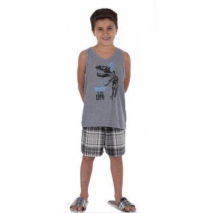 Pijama infantil para menino de verão regata XADREZ Victory