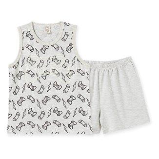Pijama Infantil Pingo Lelê Regata Gamer + Short Masculino