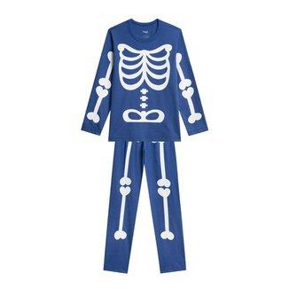Pijama Infantil Veggi Manga Longa Esqueleto