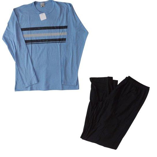 Pijama Inverno Masculino Calça Malwee Manga Longa Azul Claro Listrado - Azul Claro+Preto