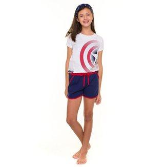 Pijama Juvenil Feminino Capitão América Avengers Evanilda - BRANCO - 14