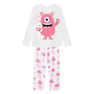 Pijama Juvenil Kyly Monstrinho Brilha No Escuro Feminino
