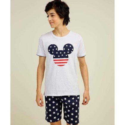 Pijama Juvenil Manga Curta Mickey Disney Tam 10 A 16 - 10046241238