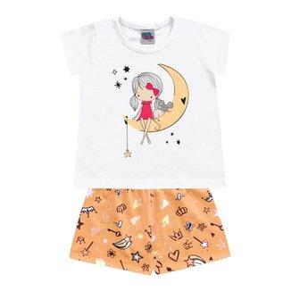 Pijama Kiko E Kika Bebe Feminina 1-2-3 - Branco Com Laranja