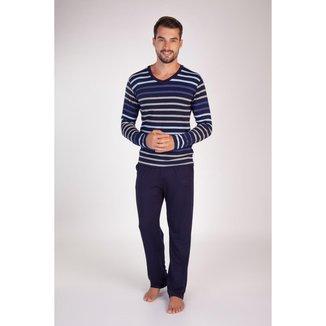 Pijama Listrado Longo Masculino Viscolycra