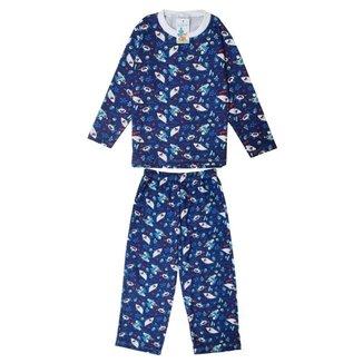 Pijama Longo Babié Infantil Tubarão Masculino