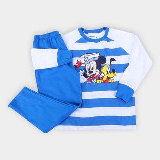 Pijama Longo Bebê Evanilda Mickey Mouse Masculino