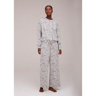 Pijama Longo Estampado Feminino em Moletinho - 7CJK1AEN12