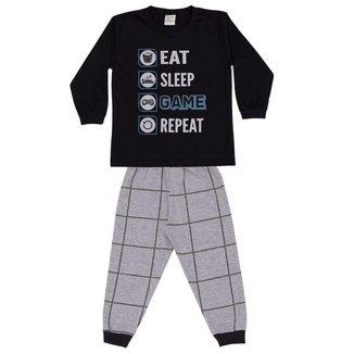 Pijama Longo Infantil Brilha No Escuro Game Dadomile
