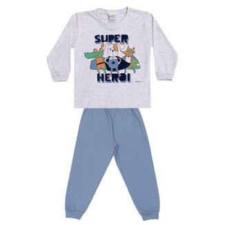 Pijama Longo Infantil Brilha No Escuro Super Heróis Dadomile