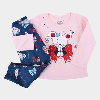 Pijama Longo Infantil Elian Beautiful Day Feminino