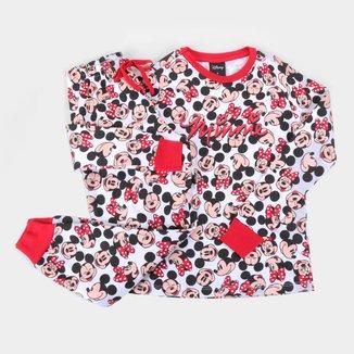 Pijama Longo Infantil Evanilda Disney Mickey e Minnie Mouse Feminino