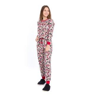 Pijama Longo Juvenil Evanilda Disney Mickey & Minnie Mouse Feminino