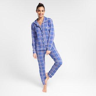 Pijama Longo Volare Flanelado Xadrez Americano Feminino