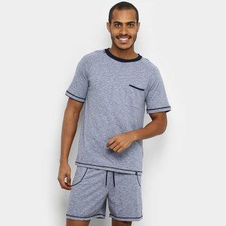 Pijama Lupo Curto Algodão Costura Mescla Masculino