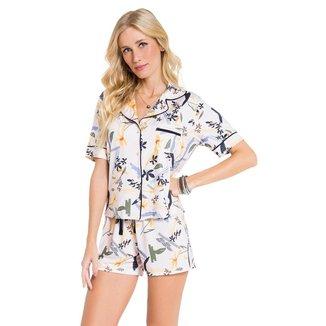 Pijama Manga Curta Aberto Botanical Feminino