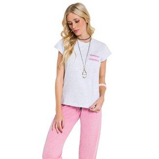 Pijama Manga Curta Com Calça Confort Feminino