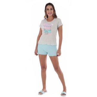 Pijama manga curta e short doll  feminino de verão Victory