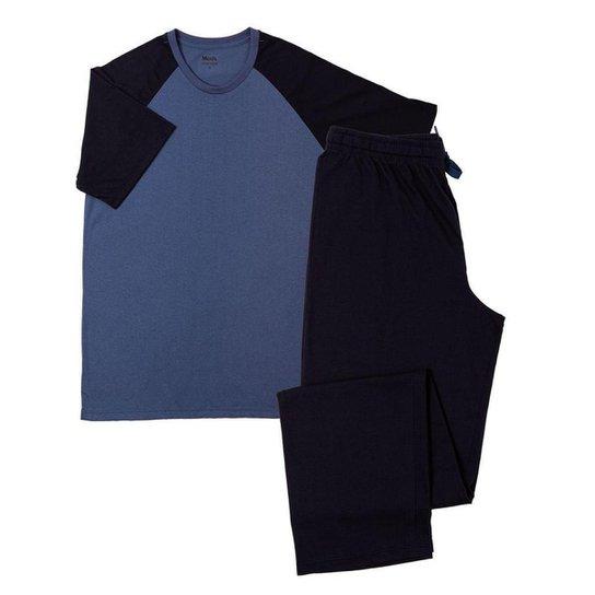 Pijama Manga Curta Gola Mash - Azul