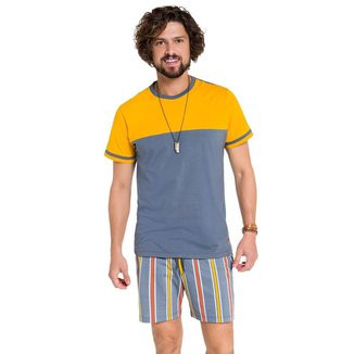 Pijama Manga Curta Masculino Listras